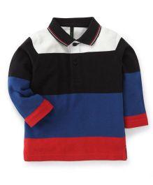UCB Full Sleeves Stripe T-Shirt - White Blue Red