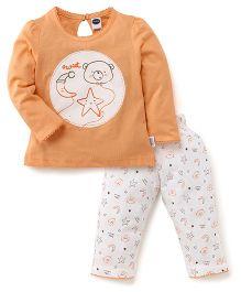Teddy Full Sleeves Night Suit Sweet Star & Moon Print - Peach & White