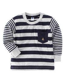 Teddy Full Sleeves Striped T-Shirt - Navy & Grey