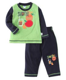 Teddy Full Sleeves Night Suit Smoothie Print - Green & Navy