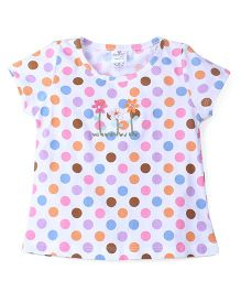 Smarty Short Sleeves Dotted Top Floral Motif - White