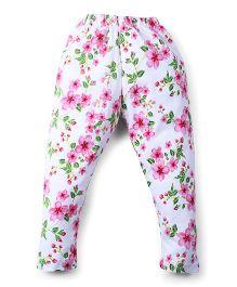 Smarty Full Length Floral Printed Leggings - White & Multi Color