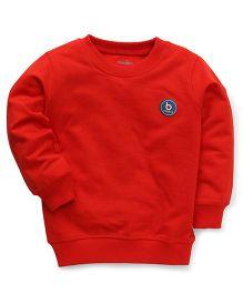 Babyhug Full Sleeves Plain Solid Color Sweatshirt - Red