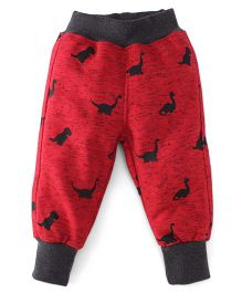 Little Kangaroos Full Length Fleece & Thermal Bottoms With Dino Print - Red