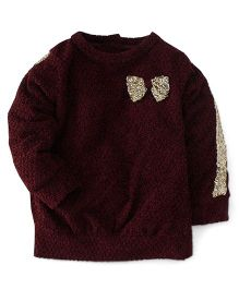 Little Kangaroos Full Sleeves Party Wear Top With Sequined Bow Applique - Maroon