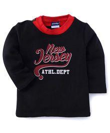 Play by Little Kangaroos Full Sleeves New Jersey Print Sweatshirt - Black
