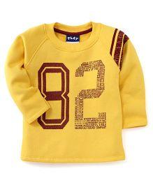 Play by Little Kangaroos Full Sleeves 82 Print T-Shirt  - Yellow