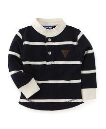 Play by Little Kangaroos Full Sleeves Sweatshirt Stripes Pattern - Black And White