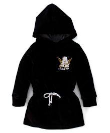 Little Kangaroos Hooded Winter Wear Frock - Black