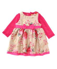 Yellow Duck Rose Printed Frock With Inner Tee - Fuchsia & Fawn