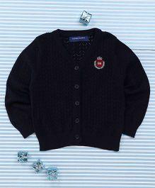 Bambini Kids Soft Front Open Sweater - Dark Blue