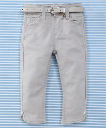 Bambini Kids Girls Pant With Belt - Light Grey