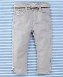 Bambini Kids Girls Pant With Belt - Light Grey