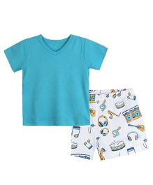 Chic Bambino V Neck Tee Shirt & Shorts With Music Design - Sea Green & White