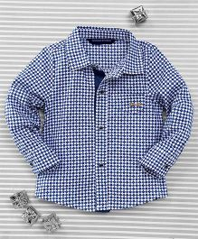 Bambini Kids Full Sleeves Printed Shirt - White & Blue