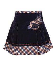 Cutecumber Party Wear Skirt Flower Appliques - Navy