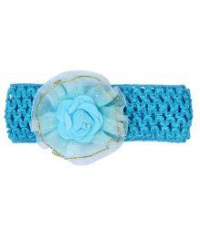 Miss Diva Flower On Soft Headband - Turquoise Blue