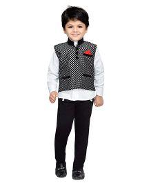 AJ Dezines Shirt Pant And Waistcoat Set Checks Pattern - White