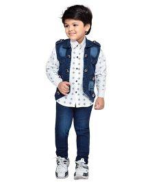 AJ Dezines Jeans Shirt And Denim Jacket Set - White Blue
