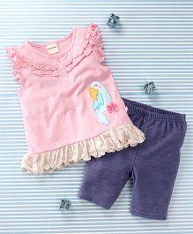 Mimiwinga Parrot Print Top & Leggings - Pink & Blue