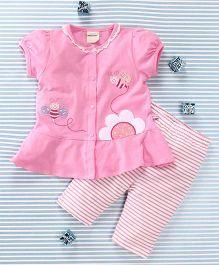 Mimiwinga Bee Print Top & Leggings - Pink