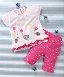 Mimiwinga Elephant Print Top & Leggings - White & Pink