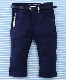 Bambini Kids Pant With Belt - Navy Blue
