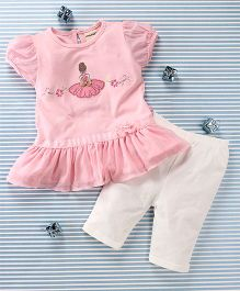 Mimiwinga Doll Print Dress & Leggings - Pink & White