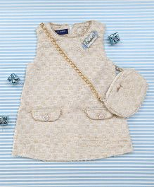 Bambini Kids Pretty Dress With Matching Sling Bag  - Off White