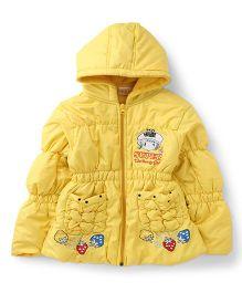 Peridot Full Sleeves Hooded Jacket Embroidery - Yellow