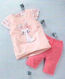 Mimiwinga Rabbit Print Top & Leggings - Cream & Pink