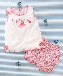 Mimiwinga Heart Print Top With Bloomer - White & Pink