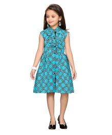 K&U Sleeveless Printed Frock - Blue