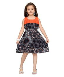 K&U Sleeveless Party Dress Printed - Orange And Black