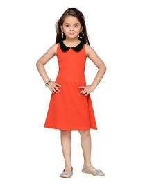 K&U Sleeveless Party Dress Peter Pan Collar - Red