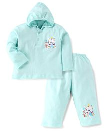 Tango Full Sleeves Hooded T-Shirt And Pant Set With Cats Cant Count Print - Light Cyan