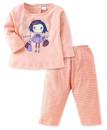 Tango Full Sleeves Top And Striped Leggings Set With Love Shopping Print - Peach