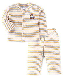 Tango Full Sleeves Striped Winter Wear Top And Bottom Set - White & Yellow