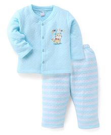 Tango Full Sleeves Kitty Printed Winter Wear Set - Light Cyan