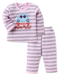 Tango Full Sleeves Striped T-Shirt And Bottom Set With Beep Beep Print - Light Pink