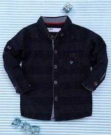 Gigilily Tiny Dot Print Full Sleeves Shirt - Navy Blue