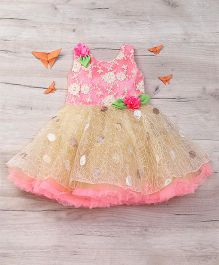 Eiora Beautiful Partywear Dress - Fawn & Pink