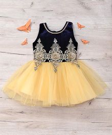 Eiora Beautiful Partywear Dress - Blue & Gold