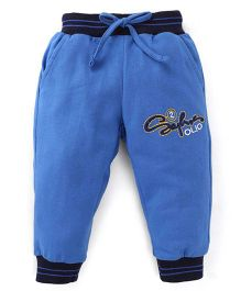 Olio Kids Drawstring Track Pant Embroidered Design - Royal Blue Black
