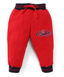 Olio Kids Drawstring Track Pant Embroidered Design - Red Black