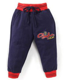 Olio Kids Drawstring Track Pant Embroidered Design - Navy Red