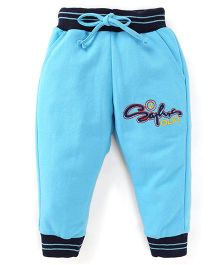 Olio Kids Drawstring Track Pant Embroidered Design - Blue