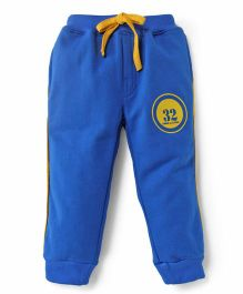 Olio Kids Fleece Track Pants With Drawstring Numeric 32 Print - Royal Blue