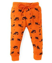 Olio Kids Drawstring Fleece Track Pant Allover Fish Print - Orange