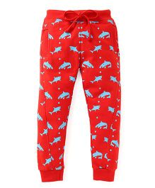 Olio Kids Drawstring Fleece Track Pant Allover Fish Print - Red
